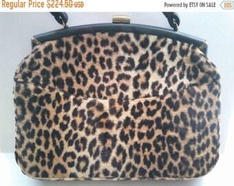 ON SALE 1960's Vintage Leopard Faux Fur Signed Ingber Large Handbag  * Retro Rockabilly Mid Century Purse * Old Hollywood Regency Glamour