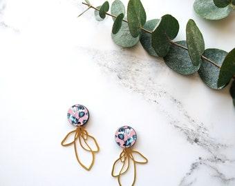 Pink Flower Drop Earrings - Petal Earrings - Gold Drop Earrings - Flower Dangle Earrings -  Gold Leaf Drop Earrings - Gold Earrings