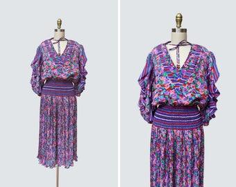 1980s Susan Freis Dress { L } Vintage 80s Floral Accordion Pleated Dress