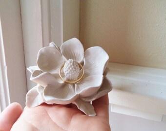 Flower ring dish, Magnolia, wedding ring holder, bridal party gifts, Southern wedding, Summer wedding, FREE SHIPPING