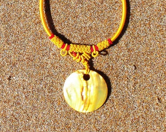 SALE Eclectic Bright Gold Shell Pendant Necklace