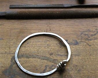 Rustic Hammered Fine Silver Bangle Bracelet