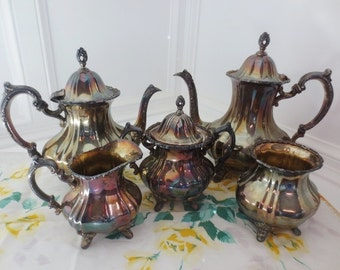 Lancaster Rose Poole Silver Plate Service Set Vintage 5 Pieces #400 Repousse and Cast Trim
