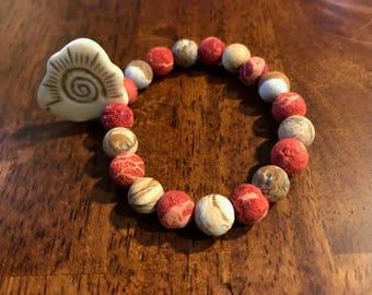 Coral, Picture Jasper Bracelet with Prosperity Sun Pendant
