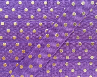 5/8 PLUM with Gold Foil Polka Dot Fold Over Elastic