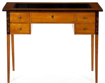 Biedermeier Style Inlaid Fruitwood Antique Writing Desk Table