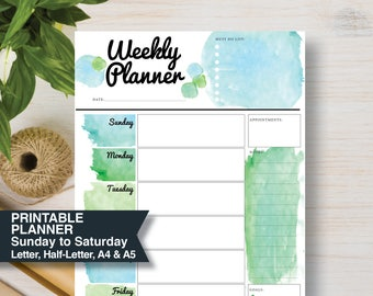 WEEKLY Green Printable Planner   Sunday Start   Includes: A4, A5, Letter & Half Letter   Inserts Planner A5. Weekly Agenda 2018   #665