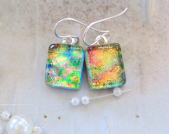 Gold Earrings, Orange, Green, Petite, Dichroic Glass Earrings, Fused Glass Jewelry, Dangle, Sterling Silver, A12