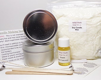 CANDLE MAKING KIT with Scent!  (Makes two 4 oz. scented candles) Learn to make soy candles