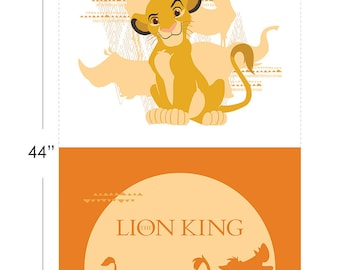 Disney Fabric The Lion King Half Panel in Orange From Camelot 100% Premium Cotton