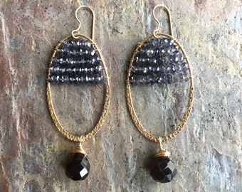 Iolite and garnet gemstone gold hoop statement earrings