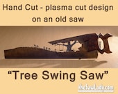 Metal Art Rustic custom hand saw featuring a 'Swing on a Tree' design | Wall Decor | Garden Art | Recycled Art | Repurposed  - Made to Order