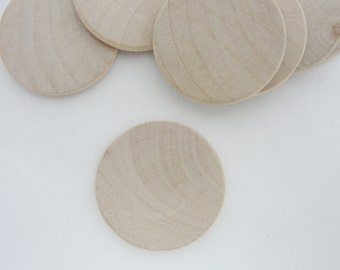 """100 wooden Circles 1 1/4"""" rounded edges, wooden disc, wood disk 1.25"""" x 1/8"""" thick unfinished DIY"""