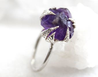 amethyst ring, raw amethyst, sterling silver, silver ring, hand carved ring, recycled silver, leaf ring, statement ring, rough