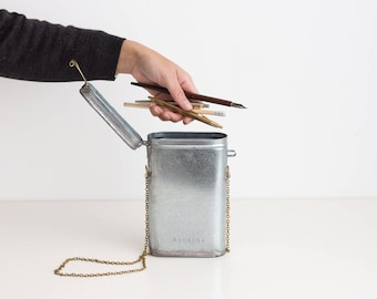 Pencil Case tin box - silver and gold - tin and brass - handmade metal work small bag pencil case