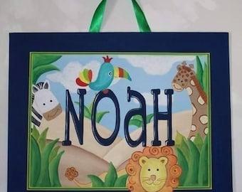 Safari, canvas name sign, custom, personalized, jungle wall art, lion, zebra, giraffe, toucan, jungle animal art, safari nursery art