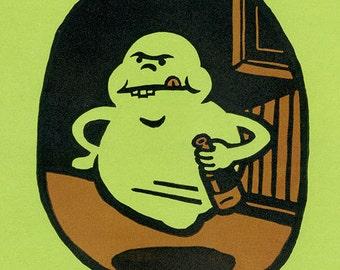 Ghostbusters SLIMER ghost lino block print