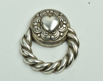 Heart with loop flat back embellishment , made in Italy, sold 3 each 09542AS