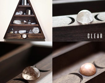 Triple Moon Shelf with Quartz Crystal or Copper Sphere Inlay