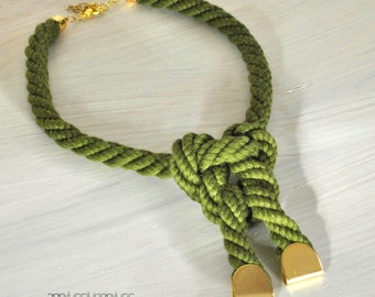 Green rope statement necklace/ Eco friendly statement rope handmade necklace .