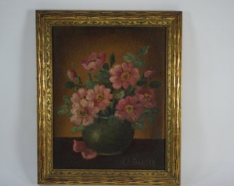 H.L. Sanger Painting, 1900's Oil Painting, Floral Still Life, Framed Artwork, Oil Painting, Wall Art, MA Artist, Home Decor, Free Ship