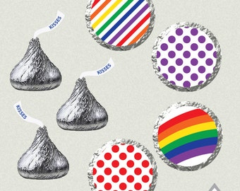 Hershey Kiss Labels, Rainbow Party, Rainbow Birthday, Rainbow Kiss Labels, Printable Kiss Labels, DIY Kiss Stickers, Baby Shower Printables