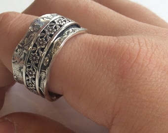 Sterling silver Band, spinner ring, meditation ring, silver gold ring, wedding band, oxidized band, floral band, wide band - Otherwise R2134