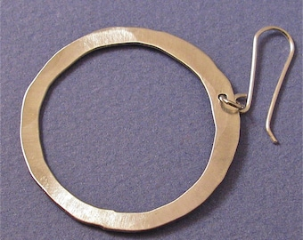 Hammered sterling silver large hoop earrings on wires