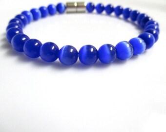 Blue Cats Eye Bracelet, Blue Bracelet, Cats Eye Bracelet, Cats Eye Jewelry, Blue Jewelry