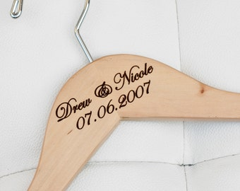 1 - Personalized Bridal Hanger - Engraved Wood