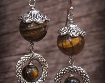 Tigers eye dangle earrings