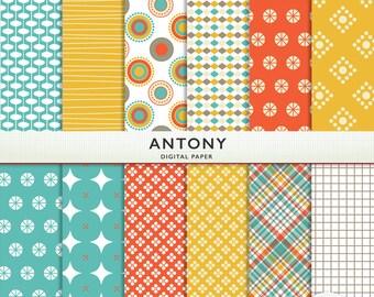 "Digital Paper - ""Antony""  -  Scrapbooking Instant Download - Orange Yellow Teal - Boys  - Personal Commercial G5076"