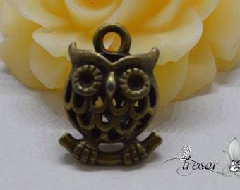 set of 2 QDW273 Metal pendant, owl, birds