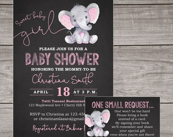 Elephant Baby Shower Invitation Girl - Chalkboard Baby Shower Invitations - Girl - Pink - Elephants - Baby-103