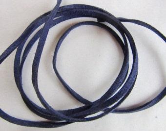 Cord suede flat 3mm, INDIGO