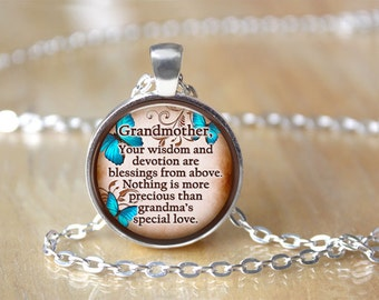 SALE! Grandmother Pendant with Butterfly Design-  - Cyber Monday