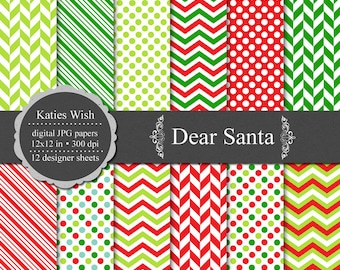 Dear Santa digital background kit  12x12 inch jpg Commercial Use files for Instant Download