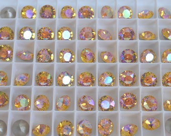 18 pieces 1088 Sunflower Glacier Blue 8mm (39ss) Swarovski Crystal Chatons with After Market Custom Coating