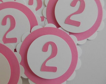 2nd Birthday Cupcake Toppers - Bubble Gum Pink and White - Girl Birthday Decorations - Set of 6