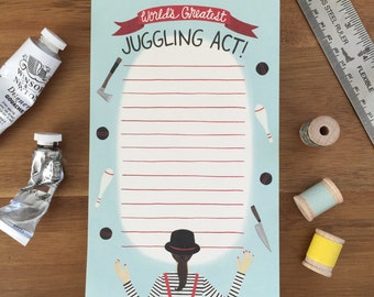 """Juggling Act Notepad - """"World's Greatest Juggling Act"""" = ID: NP100"""