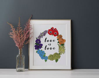 Love is Love Rainbow Floral Print 8.5 x 11