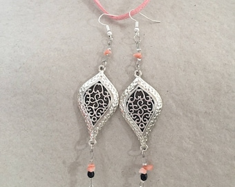 Earrings, coral and black