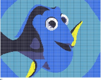 Finding Dory Crochet Afghan Pattern, Written and Graph, Vector PDF Digital Files