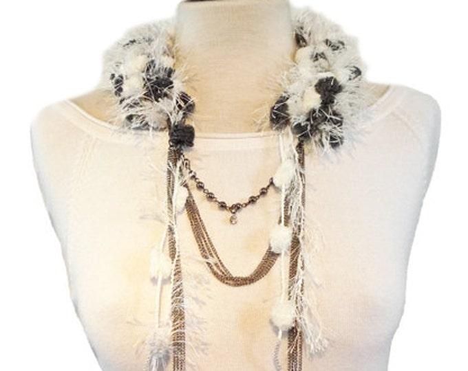 Statement Necklace - scarf necklace -crochet fabric necklace - fabric jewelry - chains necklace - gift for he -bold necklace - pendants