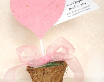 50 Plantable Cupcake Topper Hearts with Flower Seeds - Large Cake Pop Stick Style - Printable Tree of Life Cards - Flower Pot option
