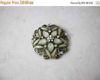 ON SALE Vintage Over Sized Floral Burst Antiqued Silver Glass Rhinestones Pin 71417