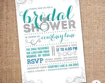 Bling Bridal Shower Invitation (Digital file)
