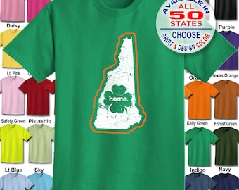 New Hampshire Home State Irish Shamrock  T-Shirt - Adult Unisex - We carry sizes S - 5XL in 30 Colors!