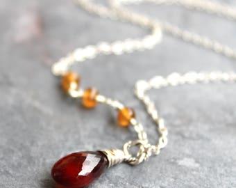 Spessartite Garnet Necklace Asymmetrical Sterling Silver Delicate Red Orange Gemstones