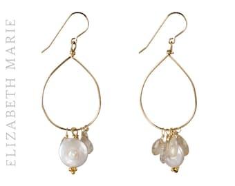 Freshwater Pearl Hoop Earrings on 14K Gold Filled French Earwire